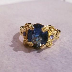 NWT 18 karat yellow gold filled blue sapphire ring